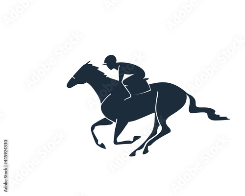 Canvas Horse racing emblem template. Isolated vector logo.