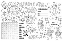 Vector Autumn Placemat For Kids. Fall Printable Activity Mat With Maze, Tic Tac Toe Charts, Connect The Dots, Find Difference, Crossword. Black And White Play Mat Or Coloring Page With Animals.