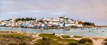 Ferragudo Village At Sunset. Algarve, Portugal