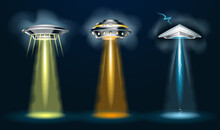 Alien Spaceships With  Light Beam, Smoke And Glows. 3d Vector Ufo Set