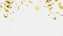 Falling Gold Confetti, Serpentine Ribbons Isolated On Transparent Vector Background. Glitter Tinsel, Shiny Golden Streamer Frame, Border In 3d Realistic Style For Birthday, Party, Carnival Design