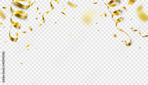 Foto Falling gold confetti, serpentine ribbons isolated on transparent vector background