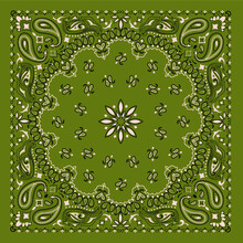 Olive Bandana Scarf Ornament Print With Paisley And Traditional Patterns