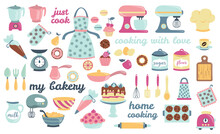 Bakery And Cooking Collection, Kitchen Utensils Icons. Perfect For Scrapbooking, Poster Design, Sticker Kit. Set Of Isolated On White Background Hand Drawn Vector Illustrations