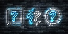 Vector Realistic Isolated Neon Sign Of Question Logo For Template Decoration And Covering On The Wall Background.