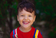 A Large Portrait Of A Cute Funny Boy With A Slugged Tongue. The Child Shows A Speech Therapy Exercise For The Development Of Speech. Exercise For Tongue. Charging For Tongue.