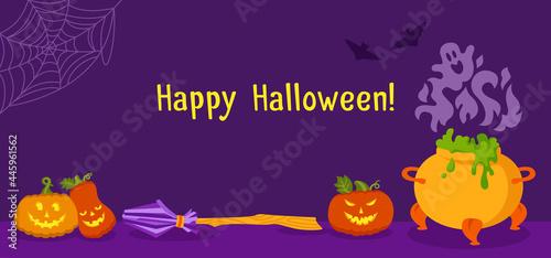 Fotografija Halloween card cartoon, party background witch elements