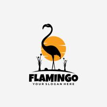 Flamingo Sunrise Logo Silhouette Style
