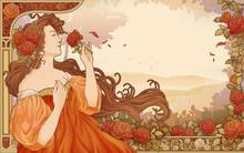 Mucha Goddess Holding Roses Garden Retro Art Nouveau Style Poster