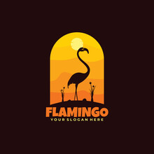Logo Flamingo Night Flat Style