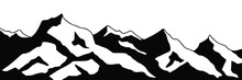 Snow Covered Mountain Peaks, Mountain Range Panoramic View, Black And White Landscape