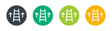 Upstairs Icon. Ladder With Arrow Icon. Symbol Of Improvement And Job Promote Concept