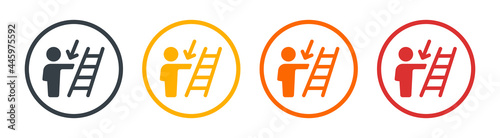 Fotografia, Obraz Person walk descending ladder icon