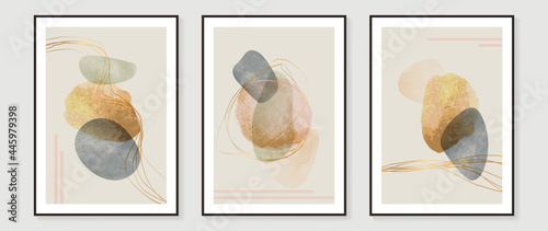 Abstract art watercolor background vector. Minimal hand painted watercolor and line art illustration. Design for wall decoration, wall arts, cover, postcards, brochure.