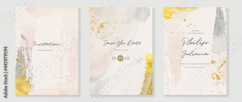 Abstract art background vector. Luxury invitation card background with golden line art and Watercolor brush texture. Vector invite design for wedding and vip cover template.
