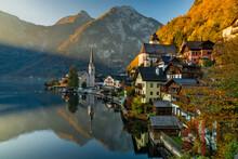 Sunrise View Of Famous Hallstatt Mountain Village With Hallstatter Lake, Austria