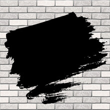 A Stain Of Black Paint On A Gray Brick Wall. Black Painted Area On A Brick Wall Backdrop. Copy Space