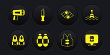 Set Flippers For Swimming, Floating Buoy, Aqualung, Life Jacket, Diving Knife, Scallop Sea Shell And Flashlight Diver Icon. Vector