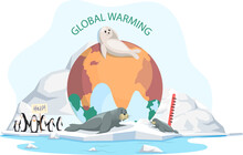 White Seal And Sea Bear Lies On Ice Floe. Wild Animals Penguins Need Help On Glacier In Antarctica. Mammal Living In Arctic. Fur-seal Lies On Iceberg Suffer From Climate Change And Global Warming