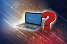 3d Rendering Computer Online Help Information Concept. Red Question Mark Over Laptop Keyboard