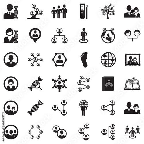 Fotografie, Tablou Ancestry Icons. Black Flat Design. Vector Illustration.