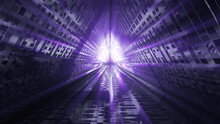 Abstract Tech Background Design With A Futuristic Triangle-shaped Tunnel And Cool Lights
