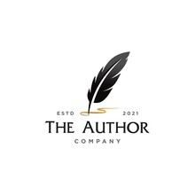 Author Signature Logo, Feather Quill Pen With Golden Ink Logo , Vintage Fountain Pen Logo With Gold Ink Icon, Luxury Elegant Classic Stationery Illustration Isolated On White Background