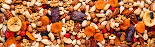 Obraz na plátně Background from various nuts and dried fruits