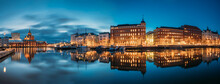 Helsinki, Finland. Panoramic View Of Kanavaranta Street With Uspenski Cathedral And Pohjoisranta Street In Evening Night Illuminations