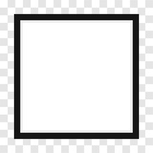 Two Vector Realistic Mofern Interior Black Blank Square Wooden Poster Picture Frame Set Closeup On White Wall Mock-up.