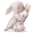 cute cartoon white hares couple in hugs