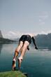 Leinwandbild Motiv Man diving into the water