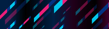 Blue And Pink Stripes Geometric Minimal Abstract Background. Vector Banner Design