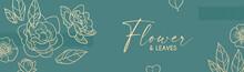 Elegant Hand Drawn Gold Flower Art Design. Trendy Blossom Background