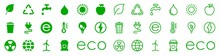 Set Of Ecologe, Nature Green Icon In Different Style