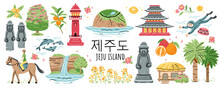 Welcome To Jeju Island, South Korea Travel. Korean Land With Traditional Attractions Stone Figures, Mountain, Lighthouse, Flower And Fruit, Waterfall. Jeju People. Vector Illustration