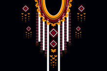 Ector Design For Collar Shirts, Ethnic Geometric Elements For Fabric. Aztec Geometric Neck Line Design Graphics Fashion Wearing.