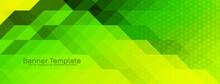 Modern Green Color Triangular Mosaic Pattern Banner Design