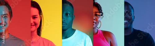 Fotografering Flyer with ccollage of cropped portraits of five young smiling people isolated o
