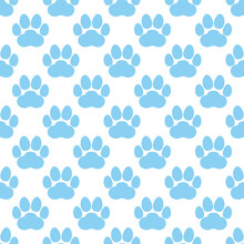 Blue Paw Print Seamless Repeating Background Pattern. Cat Or Dog Footprints. Vector Illustration.