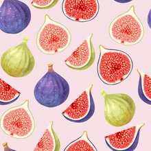 Vector Seamless Pattern With Green And Ripe Figs