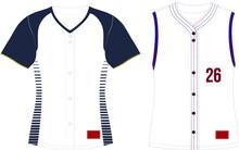Full Button Softball Jersey Set Sleeves Vectors
