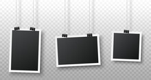 Realistic Blank Photo Frame Hanging On A Clip Isolated On Transparent Background. Vertical, Horizontal, Square Photo Frames. Black Empty Vintage Photo Frames Set. Vector Illustration