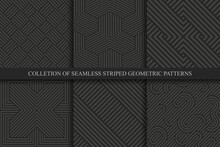 Collection Of Vector Seamless Striped Patterns. Black Geometric Luxury Backgrounds. Dark Linear Textures