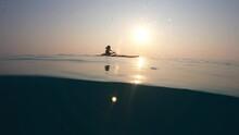Man In Kayak Half Way Shot, In Open Sea Rowing Kayak  Blue Sea