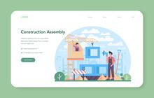 Crane Operator Web Banner Or Landing Page. Industrial Builder