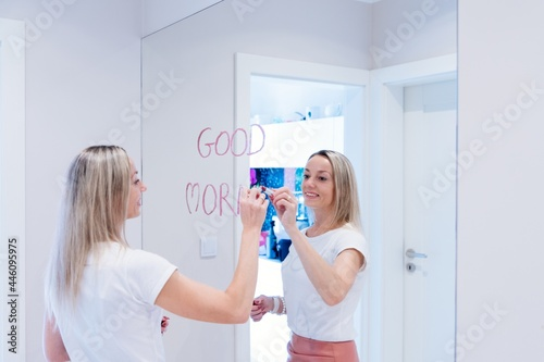 Fotografie, Obraz The inscription with lipstick Good morning on the mirror