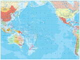 Pacific Ocean Political Map and bathymetry