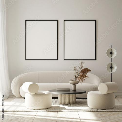 Obraz na plátně mock up poster frame in modern interior background, living room, minimalistic st