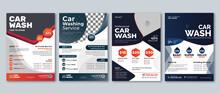 Creative Car Wash Flyer Set    Abstract Design Carwash Flyer Bundle   Car Detailing, Auto Detailing Flyer, Car Wash Poster Templates